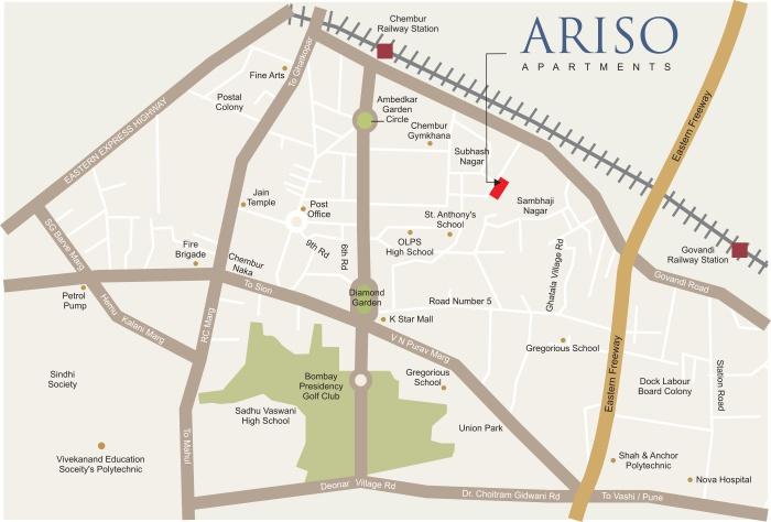 Kyraa Ariso Apartment Location Map