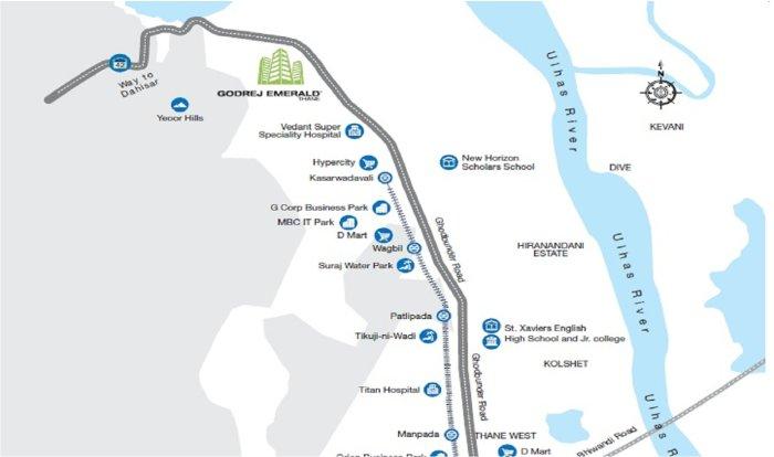Godrej Emerald Location Map